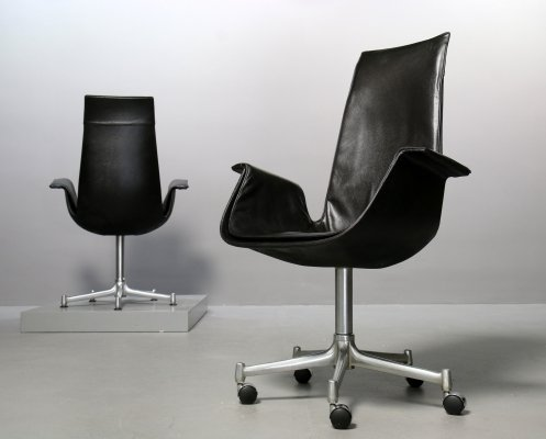 Black leather Kill International Tulip Chair FK 6725 with or without casters, 1960s