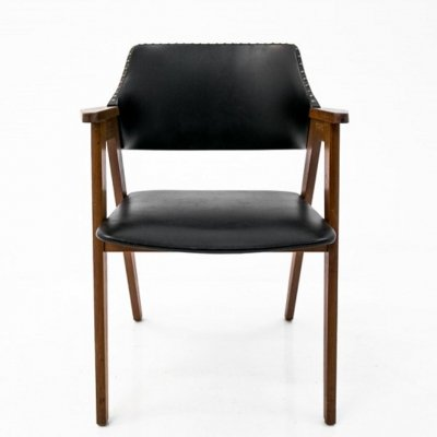 Vintage design black leather armchair, 1960s