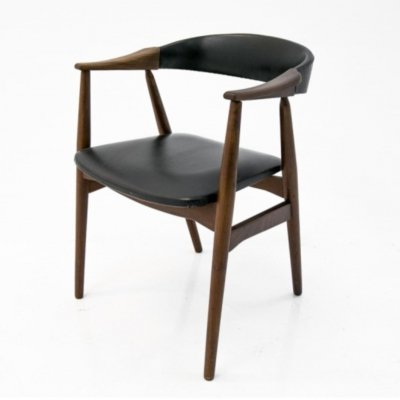Rosewood Farstrup Black Faux Leather Armchair, 1960s