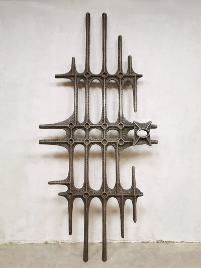 Vintage wrought iron wall art sculpture, 1960s