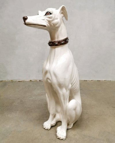 Vintage Italian design ceramic Greyhound statue