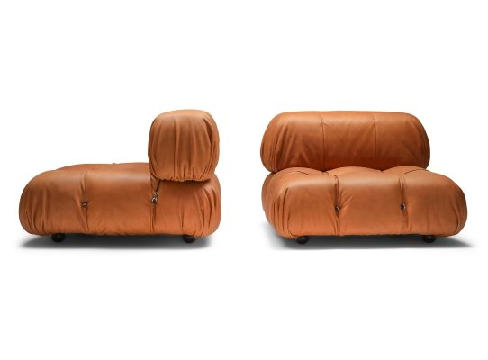 Cognac leather Camaleonda Lounge Chairs by Mario Bellini, 1970's