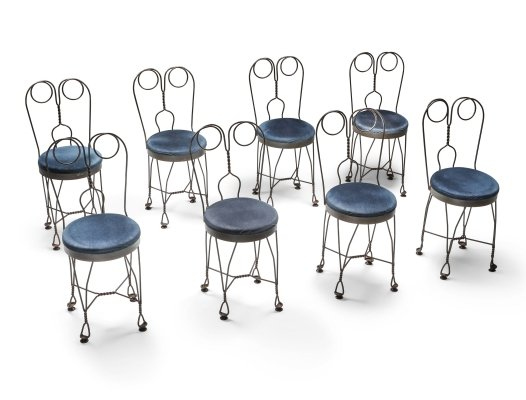 Set of 8 Wire metal & velvet dining chairs, France 1970's