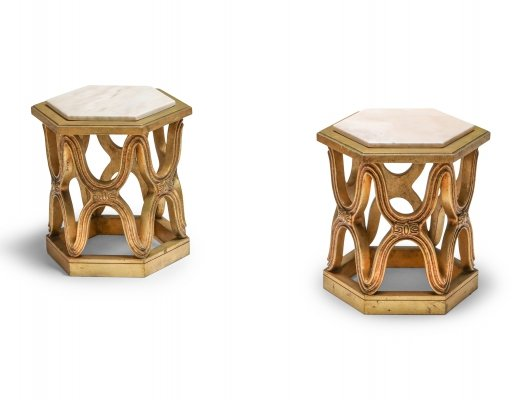Carved Giltwood Side Tables with marble top, 1970's