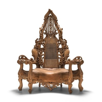French carved Oak Throne Chair, 1950s