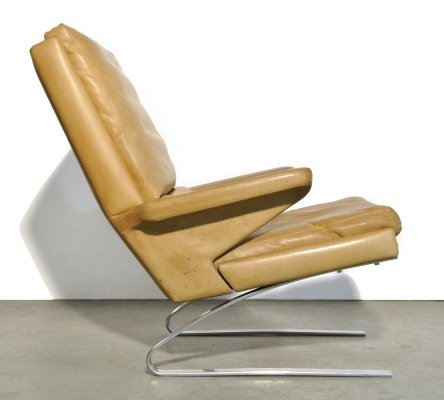 Leather swing chair by Reinhold Adolf & Hans Jürgen Schröpfer for COR Sitzmöbel, 1960s