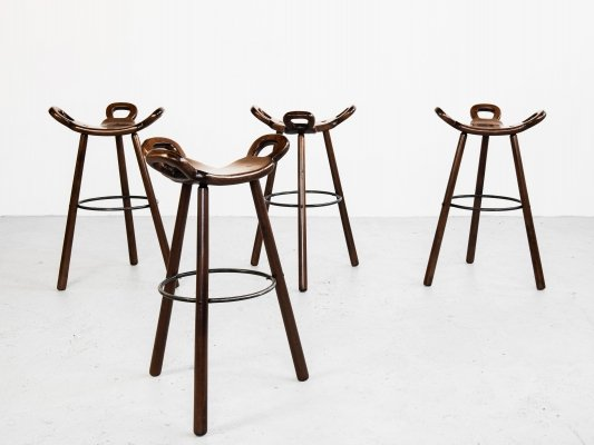 Brutalist set of 4 Marbella bar stools in beech, 1970s