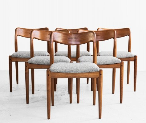 Midcentury Danish set of 6 dining chairs in teak by Johannes Andersen for Uldum, 1960s