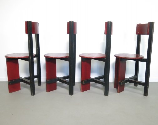 Set of 4 Piet Blom Bastille chairs, from the University of Twente- Enschede