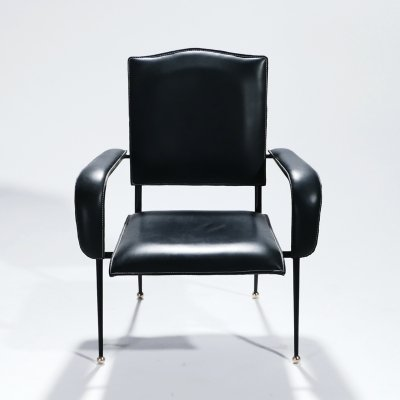 Rare French leather armchair by Jacques Adnet, 1950s