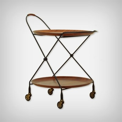 Swedish Foldable Metal & Teak Serving Trolley by Paul Nagel for Jie Gantofta
