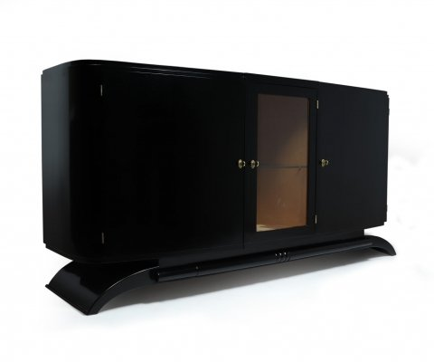 Art Deco Black Piano Lacquer Sideboard, c1930