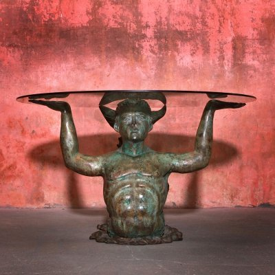 Very Rare Merman Bronze Vintage Coffee Table, 1970s