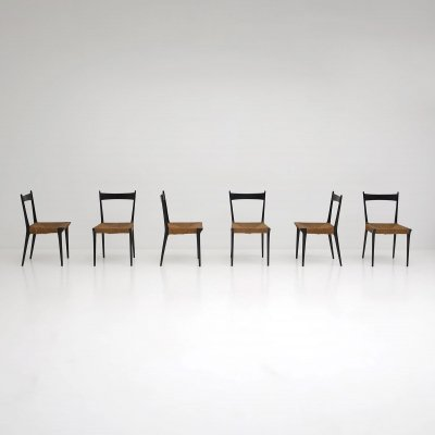 Set of six S2 chairs designed by Alfred Hendrickx in 1958 for Belform