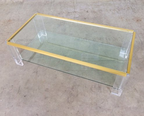 Midcentury Modern 2 level Brass & Lucite Coffee Table, 1970's