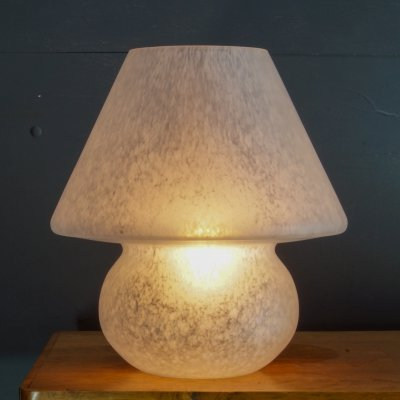 Cream fading glass mushroom table lamp, 1960s