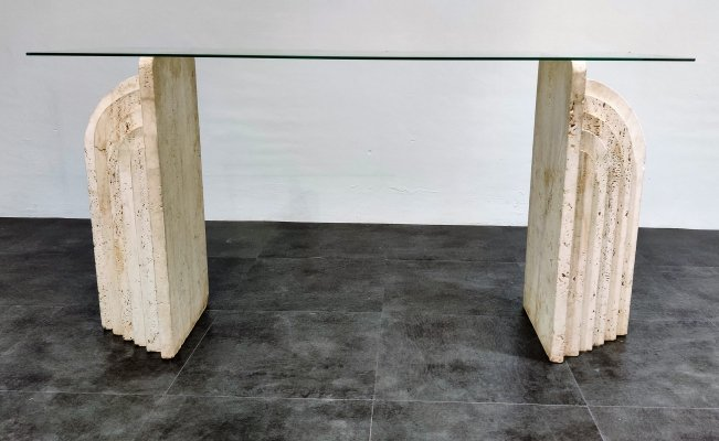 Vintage travertine console table, 1970s