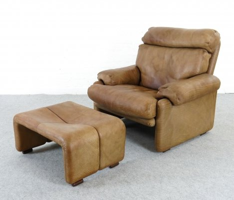 Coronado Chair in Leather with Footrest by Tobia Scarpa for B&B Italia