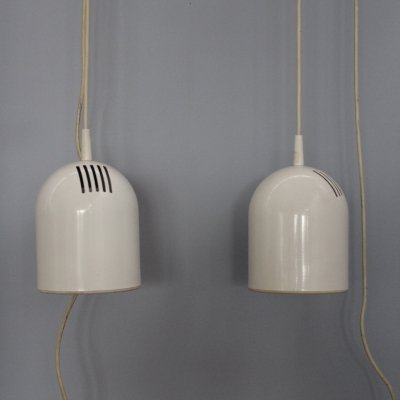 Pair of white hanging lamps, 1970's