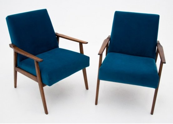 Pair of blue armchairs 300-190 by H. Lis, 1960s