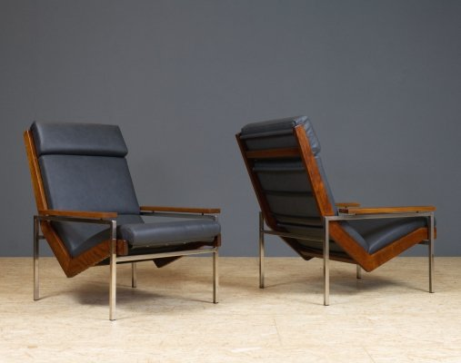 Rob Parry for Gelderland Lotus chair in Charcoal colored leather, teak & metal, 1960s