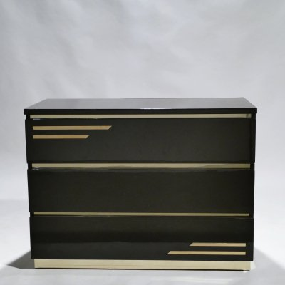 Dark brown lacquer & brass chest of drawers by J.C. Mahey, 1970s