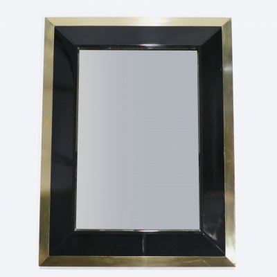 J.C. Mahey wall Mirror in black Lacquer & brass, 1970