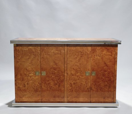 Willy Rizzo burl chrome & brass small credenza, 1970s
