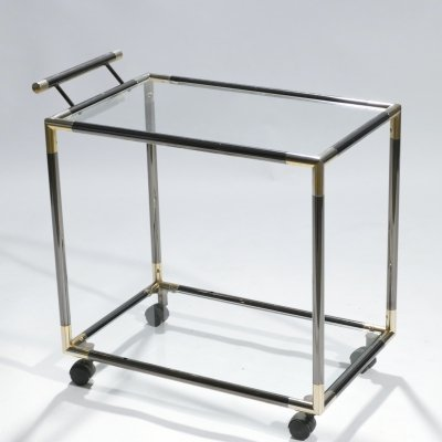 French Hollywood Regency gunmetal brass bar cart, 1970s
