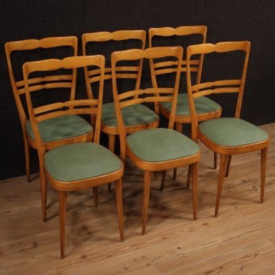 20th Century Exotic Wood & Faux Leather Italian Design dining chairs, 1970