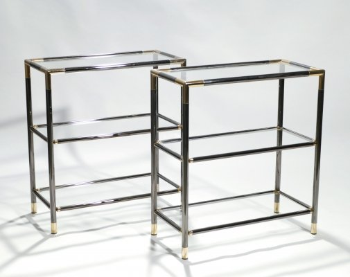 Pair of French gunmetal & brass three tiered shelves, 1970s