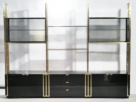 Rare Kim Moltzer French Lacquer & brass shelves, 1970s