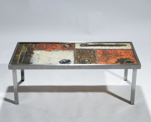 French Robert & Jean Cloutier ceramic coffee table, 1950s