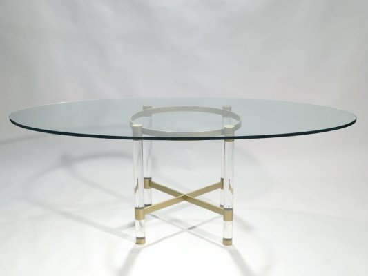 Brass & lucite dining table by Sandro Petti for Metalarte, 1970s