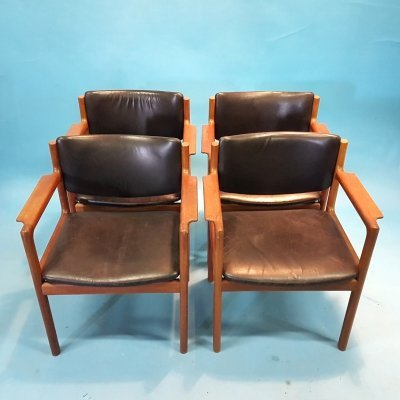 Solid teak & leather arm chairs, Denmark 1960s