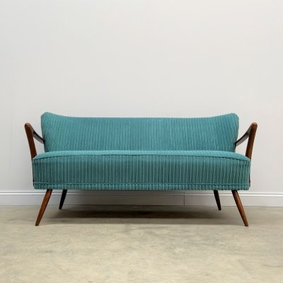 Mid Century 2 Seat Cocktail Sofa in Turquoise Corduroy, 1960's