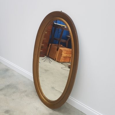 Large Oval Rustic Mirror, France 1930