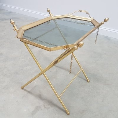 Hollywood Regency French Brass Side Table with Glass Top, 1960