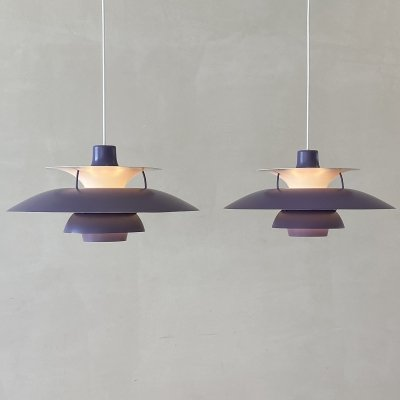 Set of 2 PH5 lamps in purple by Poul Henningsen for Louis Poulsen, Denmark 1960s