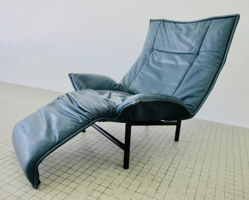 Cassina green leather 'Veranda' lounge chair by Vico Magistretti, 1980s