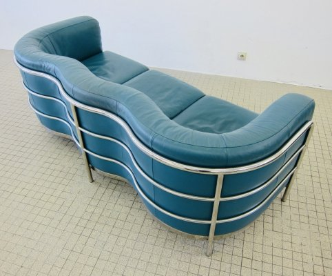 Zanotta green leather 3 seater 'Onda' sofa by De Pas, D'Urbino & Lomazzi, 1985