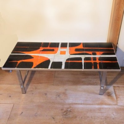 Vintage Chrome Coffee Table And Ceramic Abstract Drawing by De Nisco, Belgium