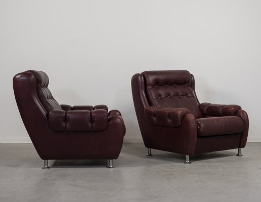 Set of two Danish design Mid-Century lounge armchairs