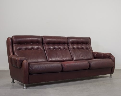 Danish 1960's three seats vintage leather sofa