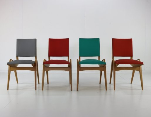 Set of 6 Stunning colored sixties dining chairs