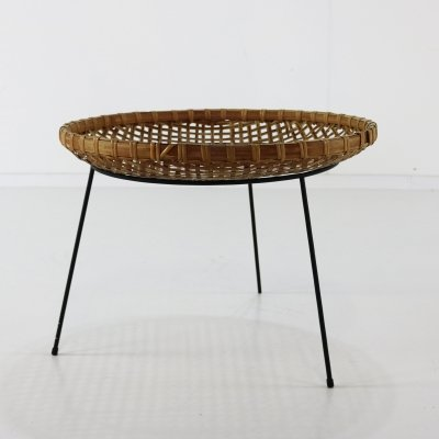 Rattan Tripod side table for Artimeta, 1960s