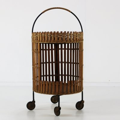 Seventies rattan bar serving trolley