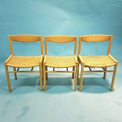 Set of 3 very rare oak & papercord church chairs by Sorø, Denmark 1960s