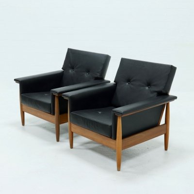 Set of 2 Mid Century Scandinavian Armchairs, 1960s