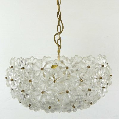 Large Mid Century Floral Chandelier Ceiling Lamp by Ernst Palme